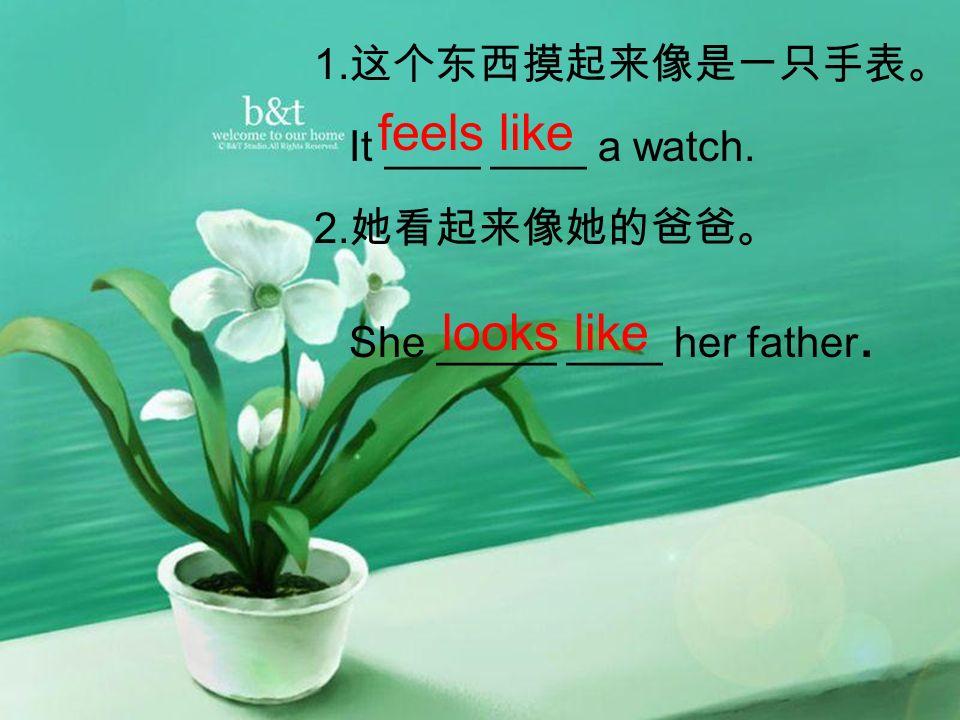 1. 这个东西摸起来像是一只手表。 It ____ ____ a watch. 2. 她看起来像她的爸爸。 She _____ ____ her father.
