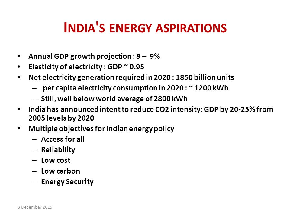 I NDIA S ENERGY ASPIRATIONS Annual GDP growth projection : 8 – 9% Elasticity of electricity : GDP ~ 0.95 Net electricity generation required in 2020 : 1850 billion units – per capita electricity consumption in 2020 : ~ 1200 kWh – Still, well below world average of 2800 kWh India has announced intent to reduce CO2 intensity: GDP by 20-25% from 2005 levels by 2020 Multiple objectives for Indian energy policy – Access for all – Reliability – Low cost – Low carbon – Energy Security 8 December 2015