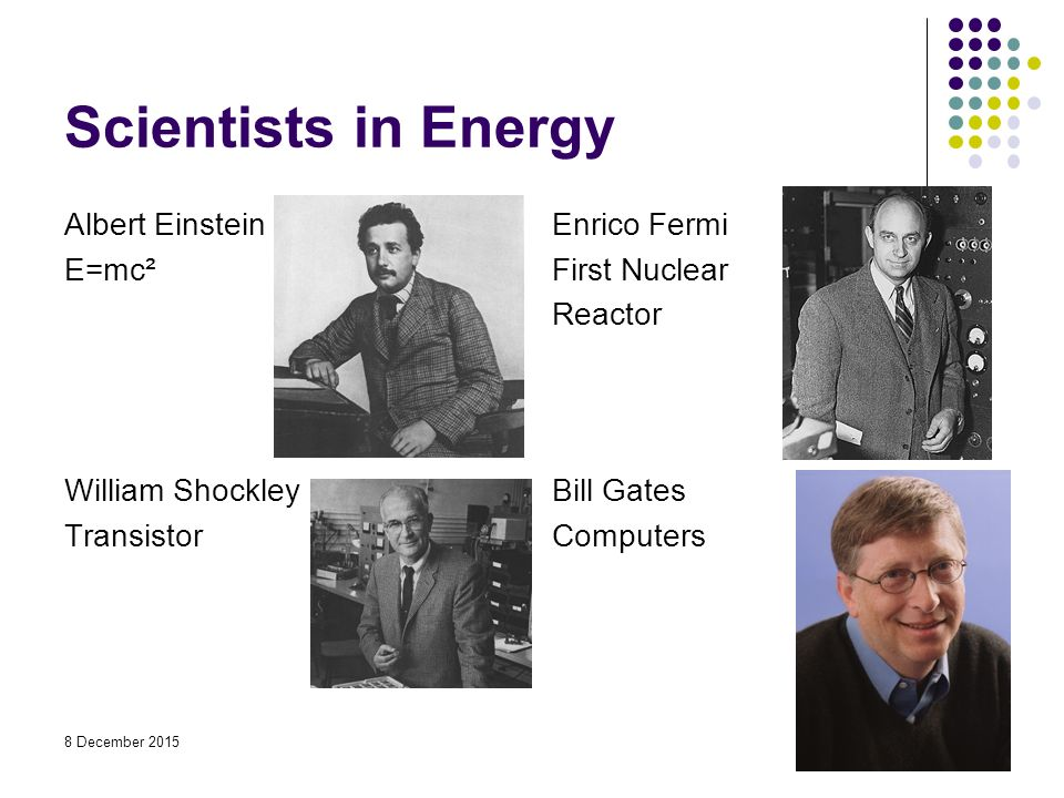 Scientists in Energy Albert Einstein E=mc² Enrico Fermi First Nuclear Reactor William Shockley Transistor Bill Gates Computers 8 December 2015