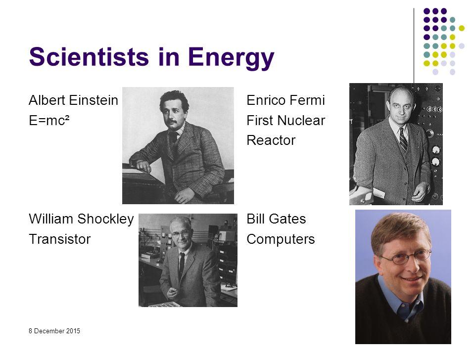 Scientists in Energy Albert Einstein E=mc² Enrico Fermi First Nuclear Reactor William Shockley Transistor Bill Gates Computers 8 December 2015