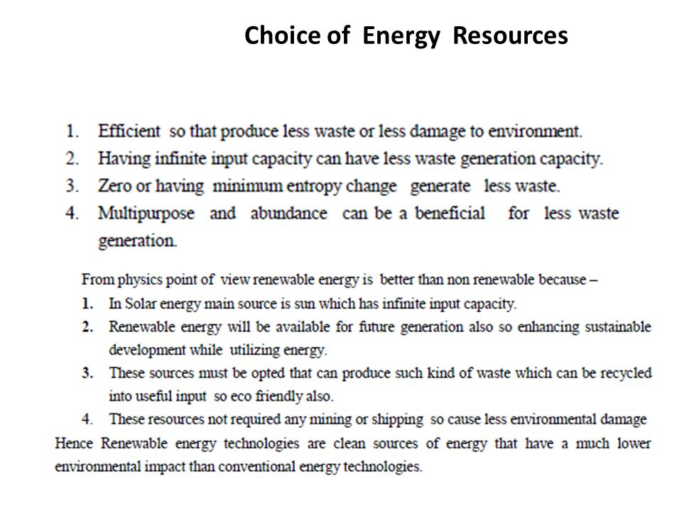 Choice of Energy Resources.
