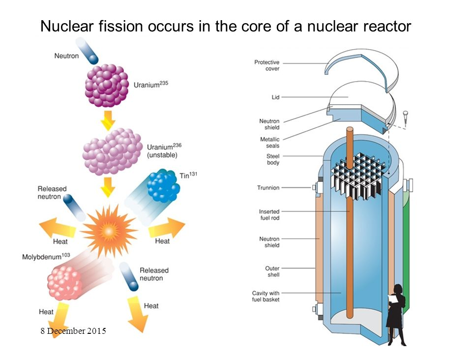 Nuclear fission occurs in the core of a nuclear reactor 8 December 2015