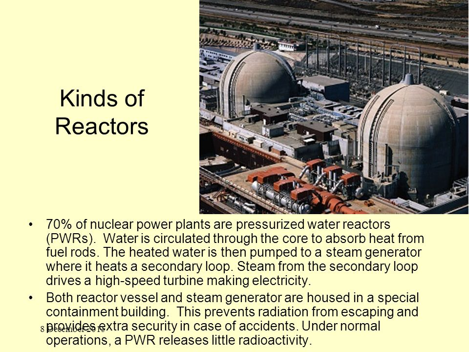Kinds of Reactors 70% of nuclear power plants are pressurized water reactors (PWRs).