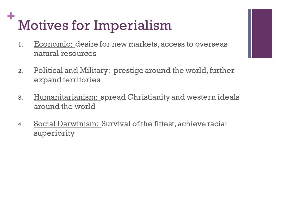+ Motives for Imperialism 1.