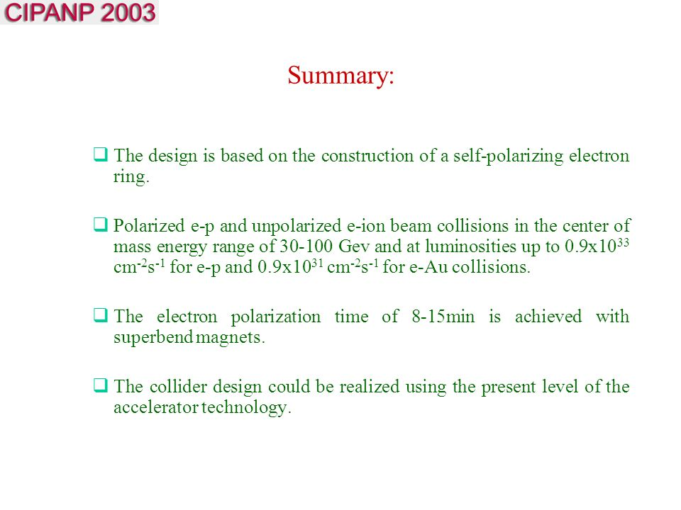 Summary:  The design is based on the construction of a self-polarizing electron ring.