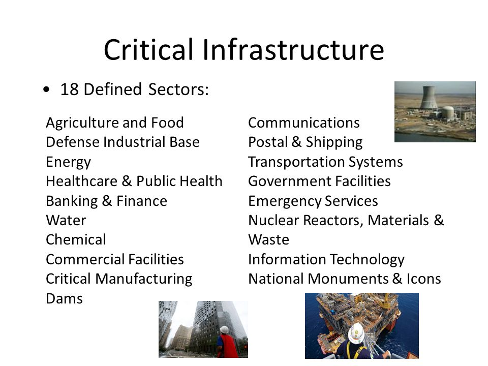 18 Defined Sectors: Critical Infrastructure Agriculture and Food Defense Industrial Base Energy Healthcare & Public Health Banking & Finance Water Chemical Commercial Facilities Critical Manufacturing Dams Communications Postal & Shipping Transportation Systems Government Facilities Emergency Services Nuclear Reactors, Materials & Waste Information Technology National Monuments & Icons