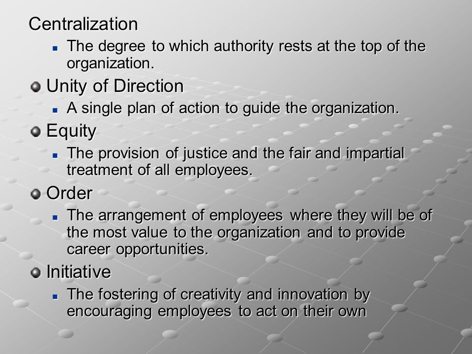 Centralization The degree to which authority rests at the top of the organization. The degree to which authority rests at the top of the organization.
