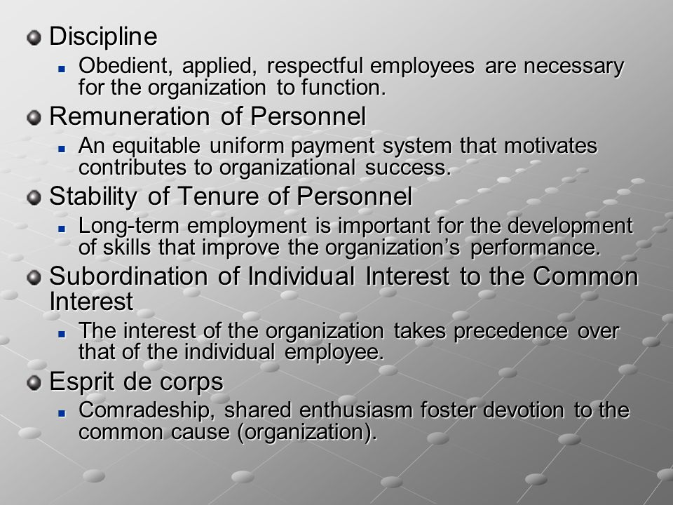 Discipline Obedient, applied, respectful employees are necessary for the organization to function. Obedient, applied, respectful employees are necessa