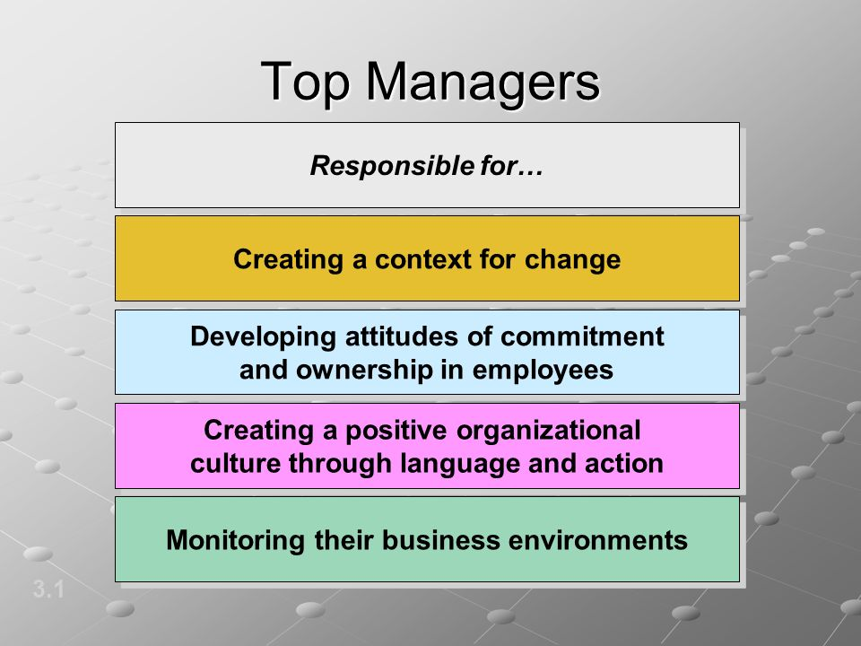 Top Managers 3.1 Responsible for… Creating a context for change Developing attitudes of commitment and ownership in employees Creating a positive orga
