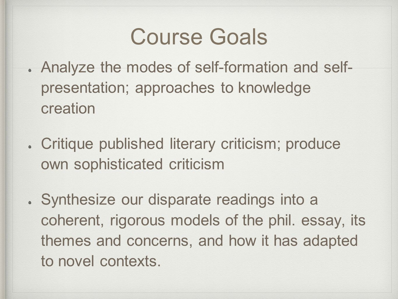 private lives public intellectuals on the philosophical essay course goals analyze the modes of self formation and self presentation approaches to