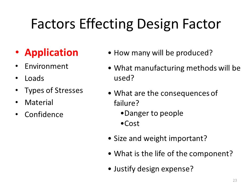 Factors Effecting Design Factor Application Environment Loads Types of Stresses Material Confidence How many will be produced.
