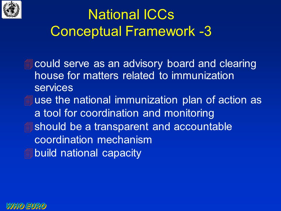 National ICCs Conceptual Framework -3 4could serve as an advisory board and clearing house for matters related to immunization services 4use the national immunization plan of action as a tool for coordination and monitoring 4should be a transparent and accountable coordination mechanism 4build national capacity WHO EURO