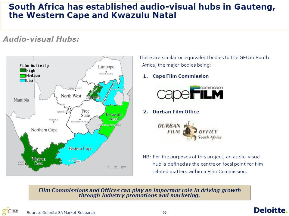 103 South Africa has established audio-visual hubs in Gauteng, the Western Cape and Kwazulu Natal There are similar or equivalent bodies to the GFC in South Africa, the major bodies being: 1.Cape Film Commission 2.Durban Film Office NB: For the purposes of this project, an audio-visual hub is defined as the centre or focal point for film related matters within a Film Commission.