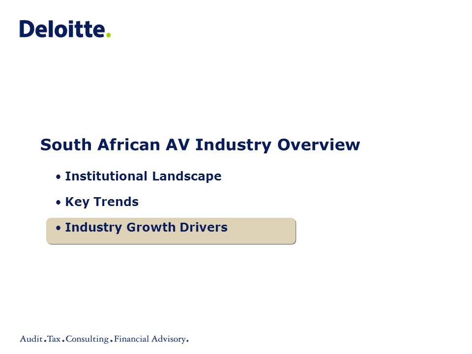 South African AV Industry Overview Institutional Landscape Key Trends Industry Growth Drivers