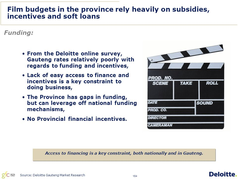 164 Film budgets in the province rely heavily on subsidies, incentives and soft loans Funding: Access to financing is a key constraint, both nationally and in Gauteng.