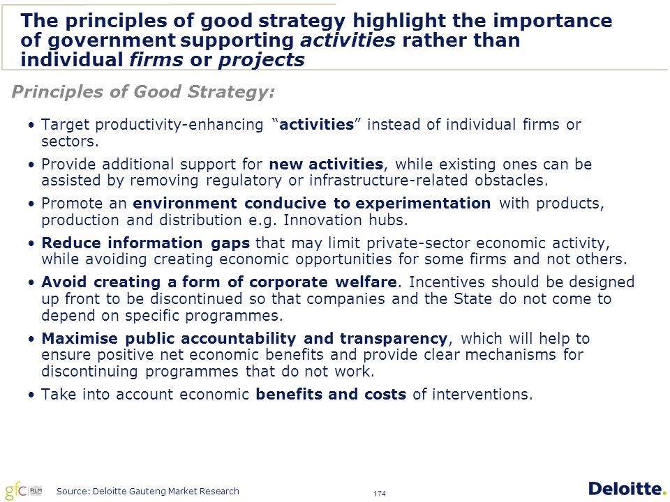 174 The principles of good strategy highlight the importance of government supporting activities rather than individual firms or projects Target productivity-enhancing activities instead of individual firms or sectors.