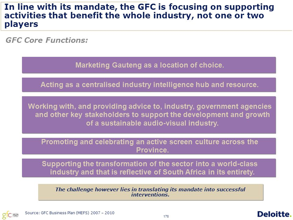 176 In line with its mandate, the GFC is focusing on supporting activities that benefit the whole industry, not one or two players GFC Core Functions: Marketing Gauteng as a location of choice.