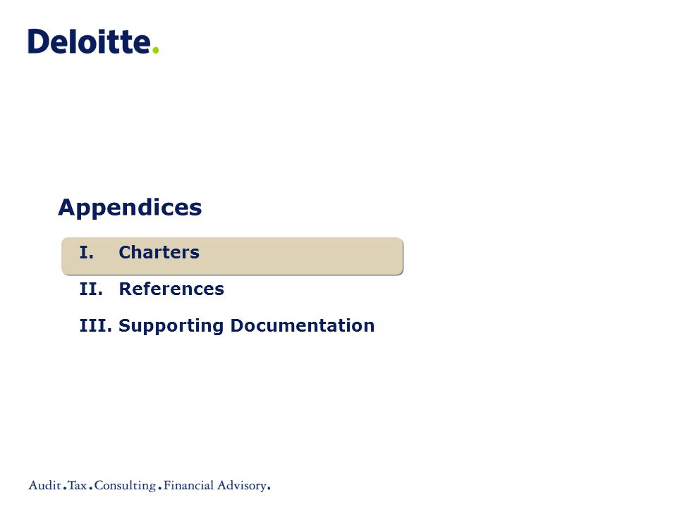 Appendices I.Charters II.References III.Supporting Documentation