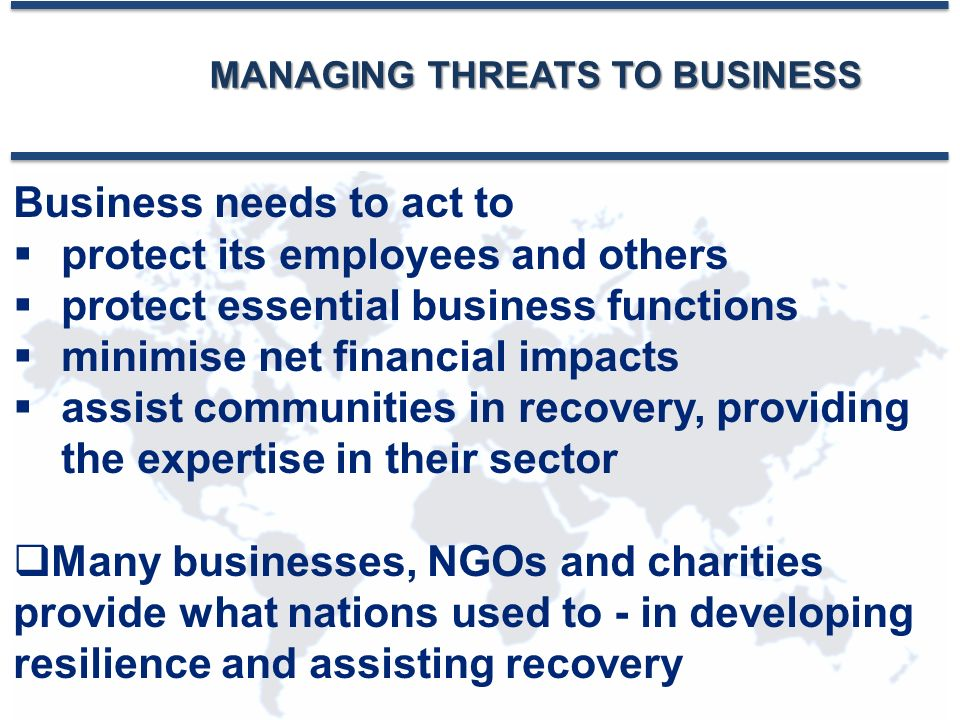 MANAGING THREATS TO BUSINESS Business needs to act to  protect its employees and others  protect essential business functions  minimise net financial impacts  assist communities in recovery, providing the expertise in their sector  Many businesses, NGOs and charities provide what nations used to - in developing resilience and assisting recovery