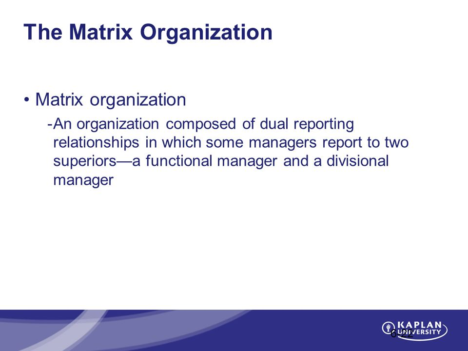 The Matrix Organization Matrix organization -An organization composed of dual reporting relationships in which some managers report to two superiors—a functional manager and a divisional manager 6-22