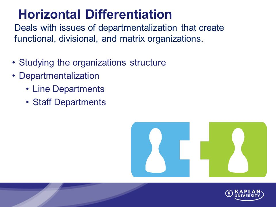Horizontal Differentiation Deals with issues of departmentalization that create functional, divisional, and matrix organizations.