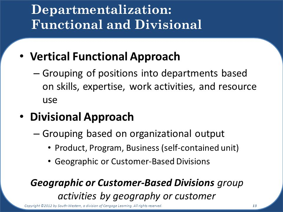 Departmentalization: Functional and Divisional Vertical Functional Approach – Grouping of positions into departments based on skills, expertise, work activities, and resource use Divisional Approach – Grouping based on organizational output Product, Program, Business (self-contained unit) Geographic or Customer-Based Divisions Geographic or Customer-Based Divisions group activities by geography or customer Copyright ©2012 by South-Western, a division of Cengage Learning.