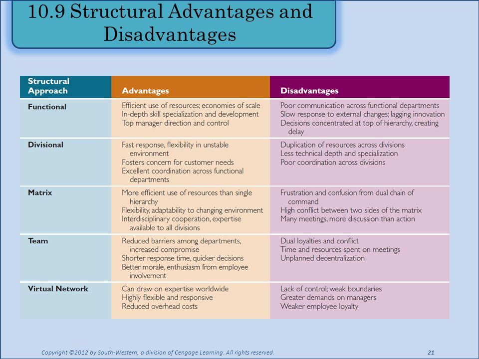 10.9 Structural Advantages and Disadvantages Copyright ©2012 by South-Western, a division of Cengage Learning.