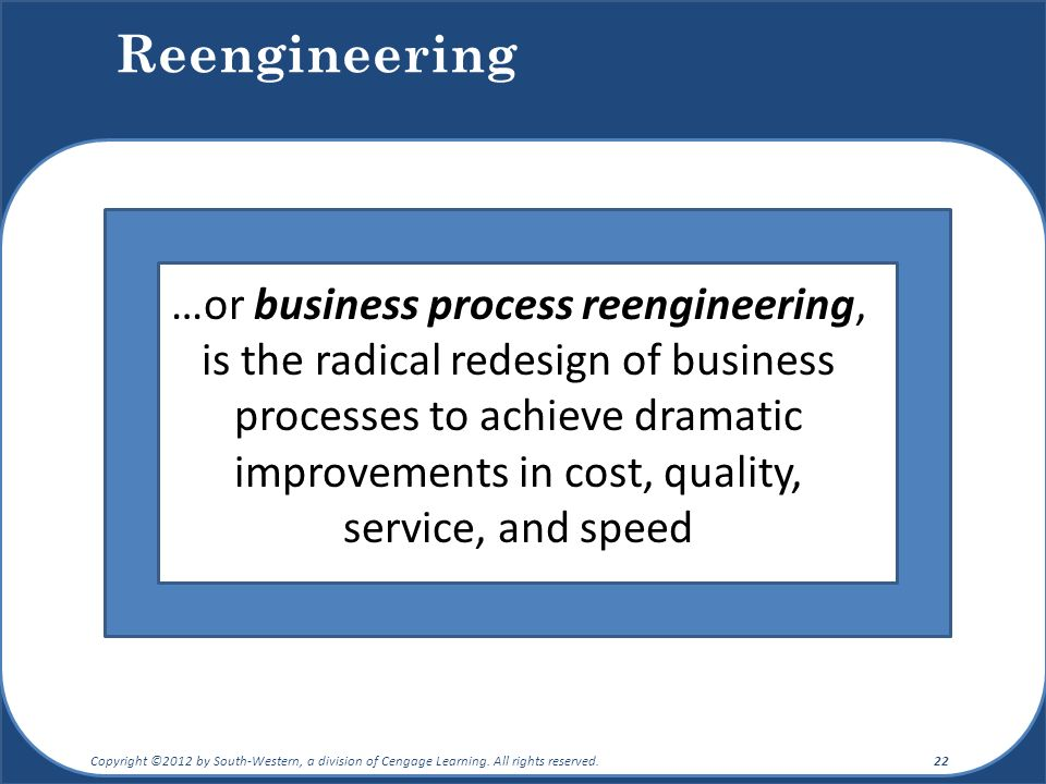 Reengineering …or business process reengineering, is the radical redesign of business processes to achieve dramatic improvements in cost, quality, service, and speed Copyright ©2012 by South-Western, a division of Cengage Learning.