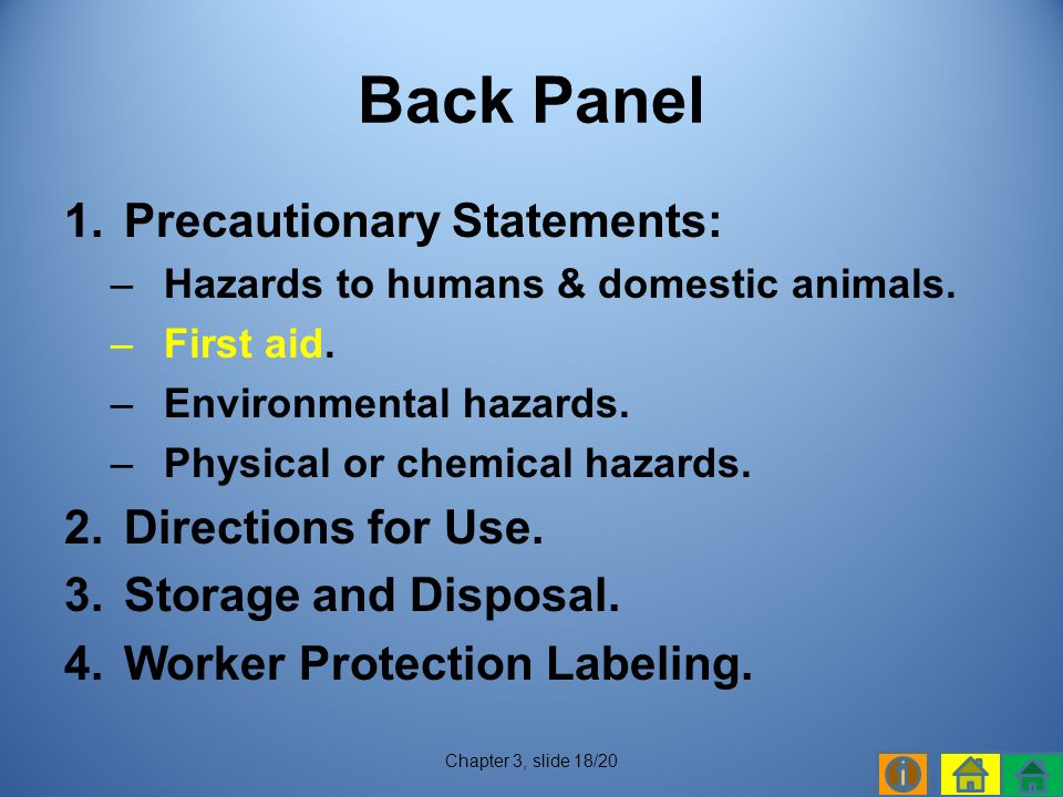 1.Precautionary Statements: –Hazards to humans & domestic animals.