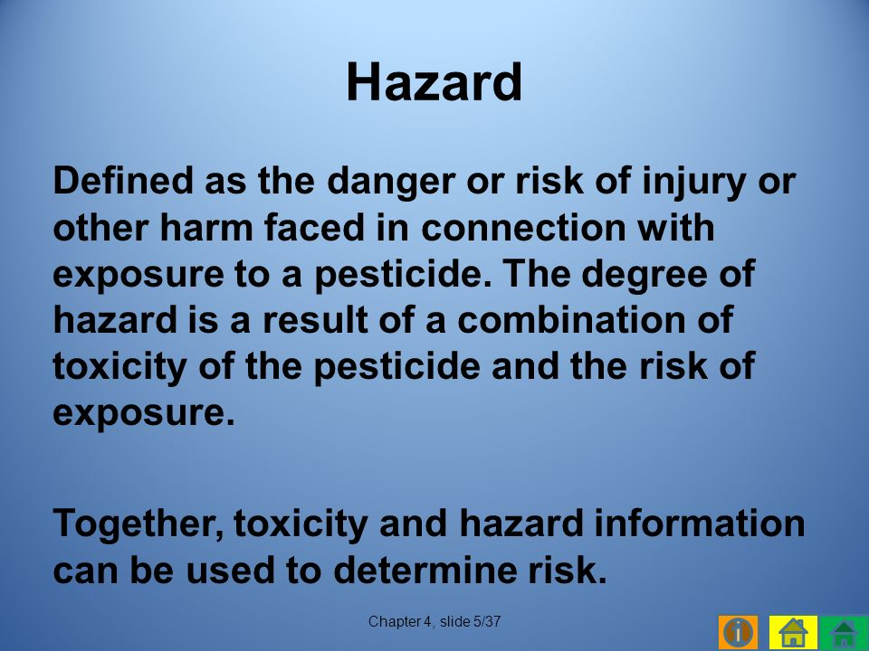 Defined as the danger or risk of injury or other harm faced in connection with exposure to a pesticide.