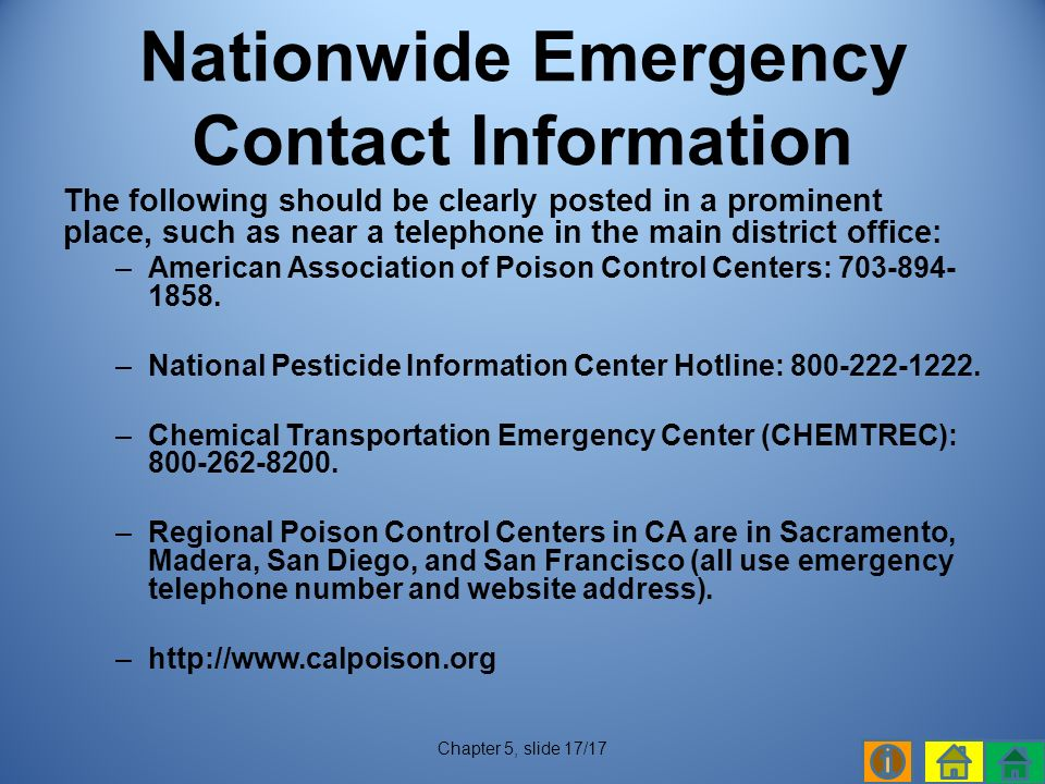 The following should be clearly posted in a prominent place, such as near a telephone in the main district office: –American Association of Poison Control Centers: