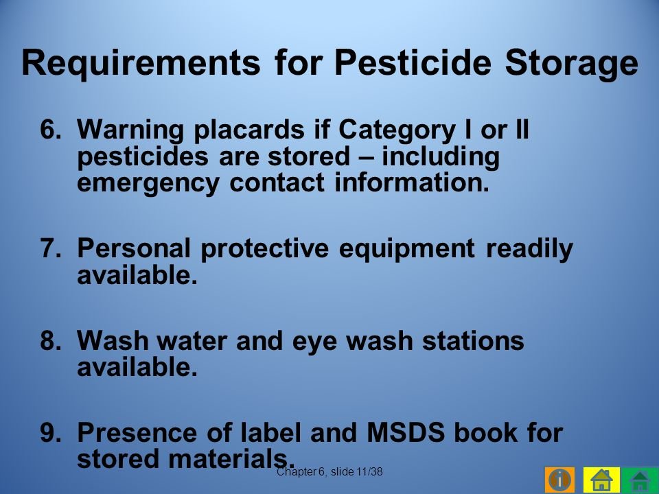 6.Warning placards if Category I or II pesticides are stored – including emergency contact information.
