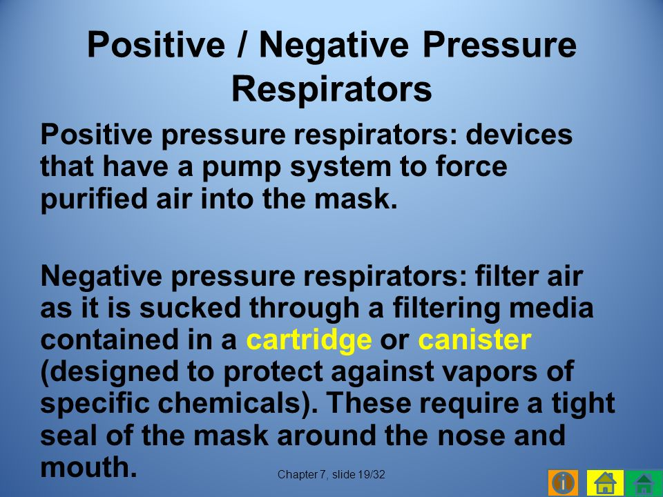 Positive pressure respirators: devices that have a pump system to force purified air into the mask.