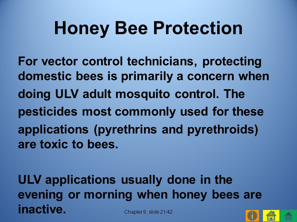For vector control technicians, protecting domestic bees is primarily a concern when doing ULV adult mosquito control.