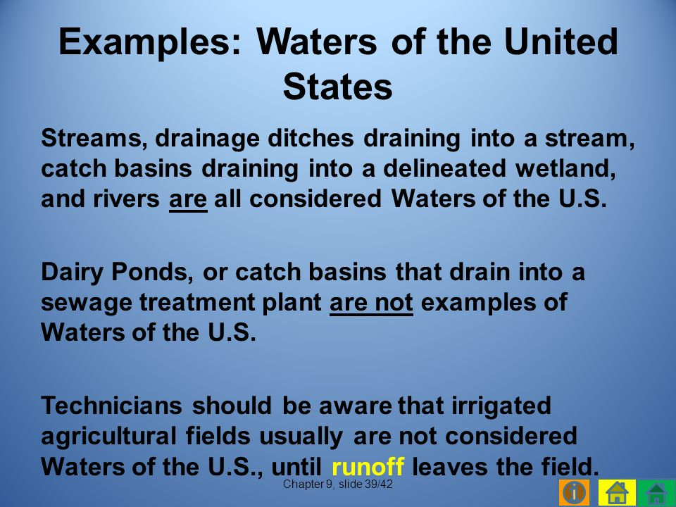 Streams, drainage ditches draining into a stream, catch basins draining into a delineated wetland, and rivers are all considered Waters of the U.S.
