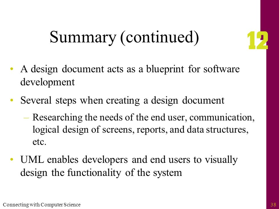 Connecting with computer science2 objectives learn how software connecting with computer science38 summary continued a design document acts as a blueprint for malvernweather Gallery