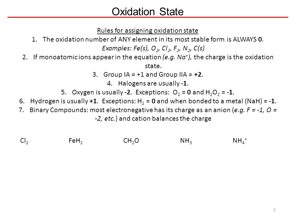 Assigning oxidation states