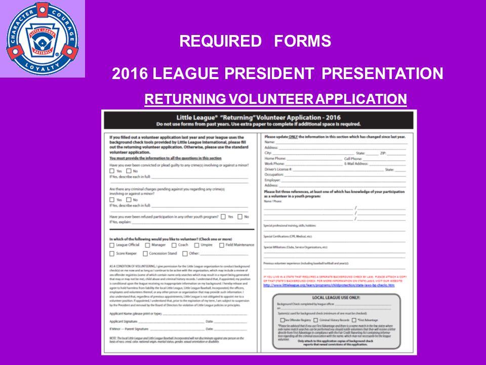 2016 LEAGUE PRESIDENT PRESENTATION MISCONCEPTIONS/FALSE RUMORS ...