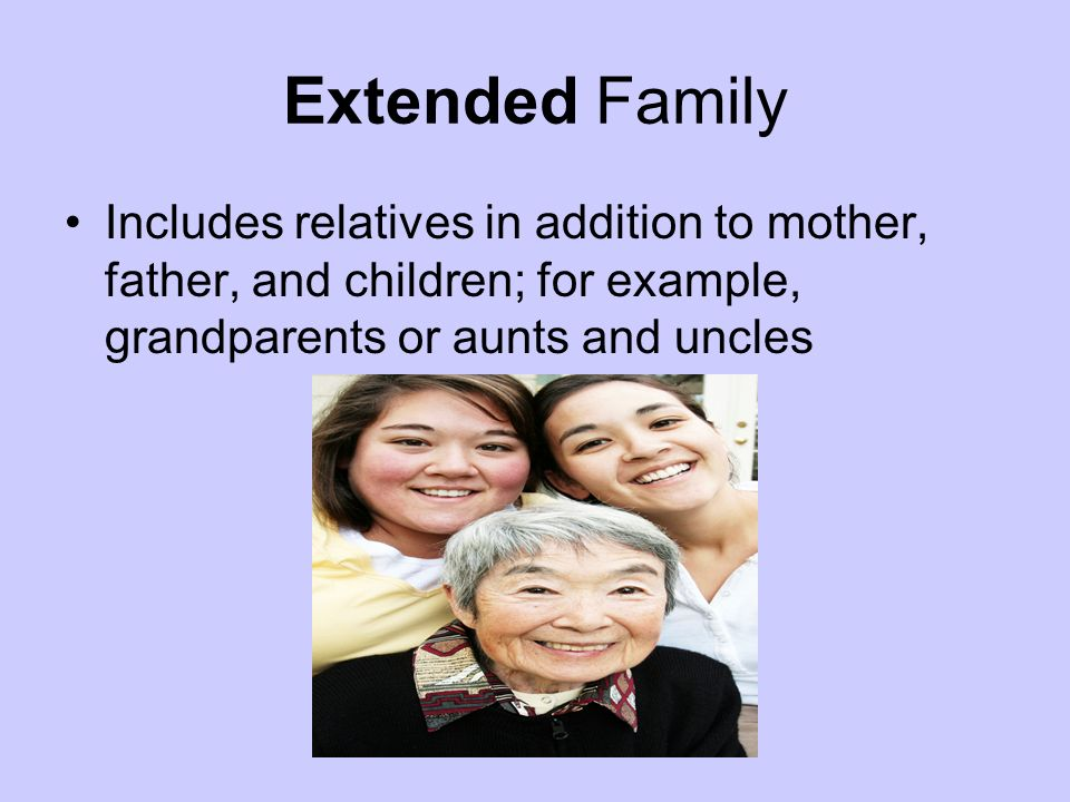 Extended Family Includes relatives in addition to mother, father, and children; for example, grandparents or aunts and uncles