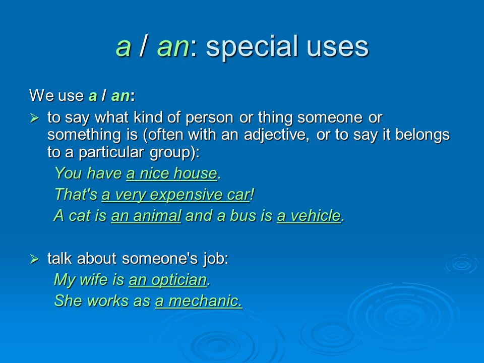 a / an: special uses We use a / an:  to say what kind of person or thing someone or something is (often with an adjective, or to say it belongs to a particular group): You have a nice house.