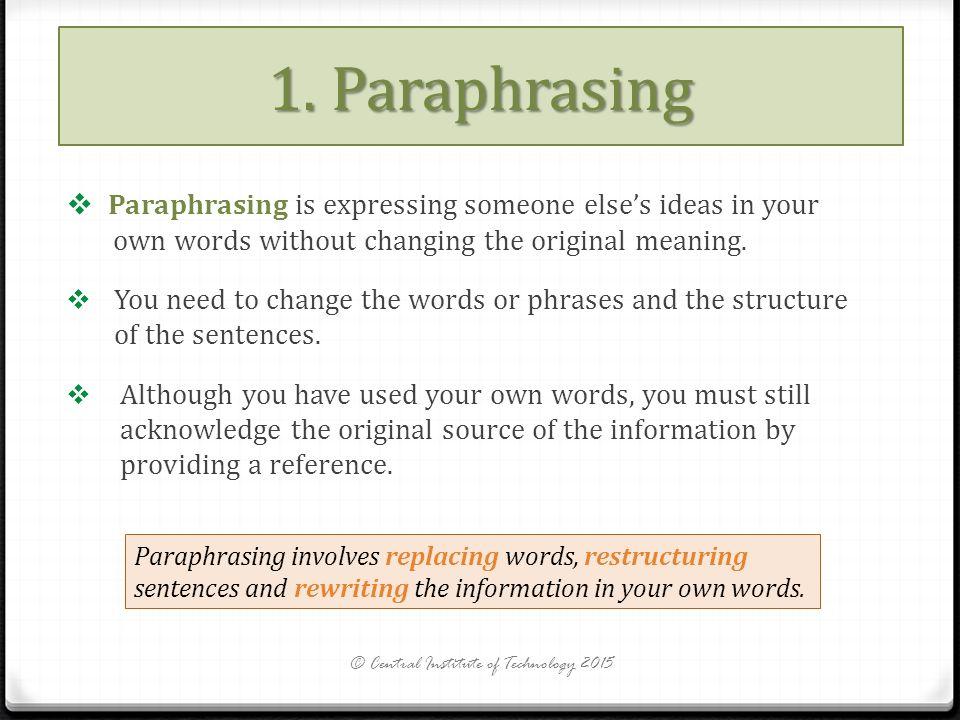 Paraphrasing meaning