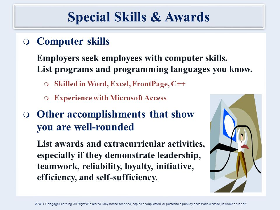 Special Skills U0026 Awards  Computer Skills Employers Seek Employees With Computer  Skills.  List Of Computer Skills