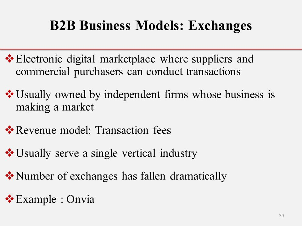 39 B2B Business Models: Exchanges  Electronic Digital Marketplace ...