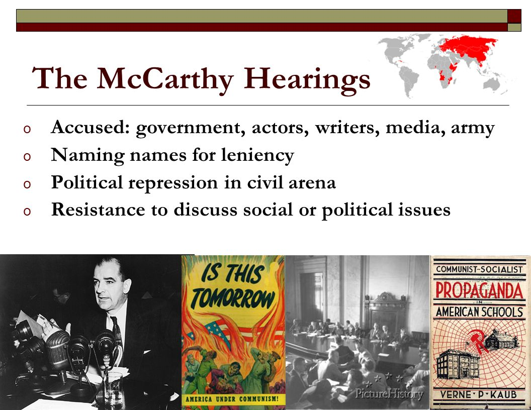 the mc carthy hearings essay The mccarthy hearings and the hollywood blacklists essays: over 180,000 the mccarthy hearings and the hollywood blacklists essays, the mccarthy hearings and the hollywood blacklists term papers, the mccarthy hearings and the hollywood blacklists research paper, book reports 184 990 essays, term and.