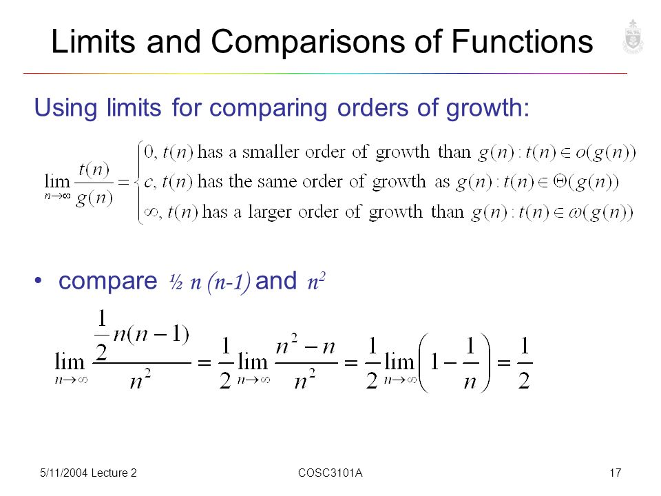 5/11/2004 Lecture 2COSC3101A17 Limits and Comparisons of Functions Using limits for comparing orders of growth: compare ½ n (n-1) and n 2