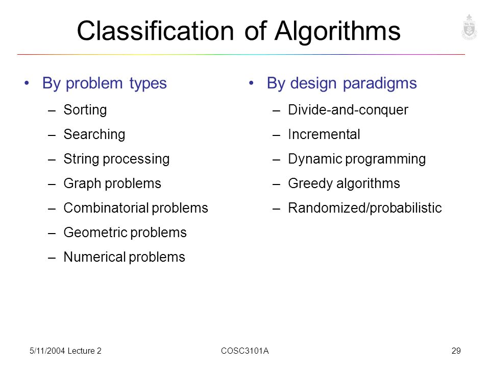 5/11/2004 Lecture 2COSC3101A29 Classification of Algorithms By problem types –Sorting –Searching –String processing –Graph problems –Combinatorial problems –Geometric problems –Numerical problems By design paradigms –Divide-and-conquer –Incremental –Dynamic programming –Greedy algorithms –Randomized/probabilistic