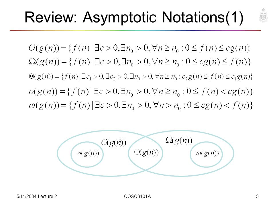 5/11/2004 Lecture 2COSC3101A5 Review: Asymptotic Notations(1)