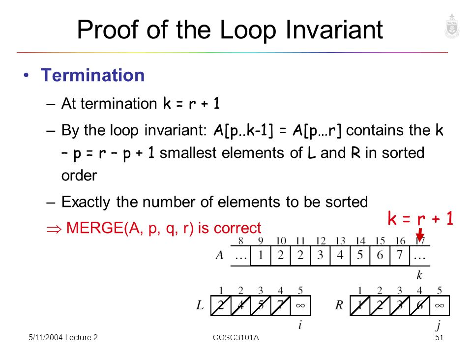 5/11/2004 Lecture 2COSC3101A51 Proof of the Loop Invariant Termination –At termination k = r + 1 –By the loop invariant: A[p..k-1] = A[p…r] contains the k – p = r – p + 1 smallest elements of L and R in sorted order –Exactly the number of elements to be sorted  MERGE(A, p, q, r) is correct k = r + 1