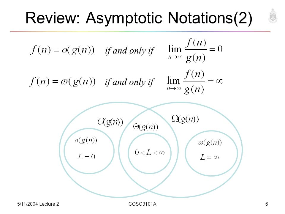 5/11/2004 Lecture 2COSC3101A6 Review: Asymptotic Notations(2) if and only if