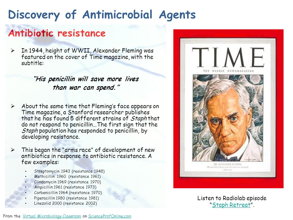 Discovery of Antimicrobial Agents Antibiotic resistance From the Virtual Microbiology Classroom on ScienceProfOnline.comVirtual Microbiology ClassroomScienceProfOnline.com  In 1944, height of WWII, Alexander Fleming was featured on the cover of Time magazine, with the subtitle: His penicillin will save more lives than war can spend.  About the same time that Fleming's face appears on Time magazine, a Stanford researcher publishes that he has found 5 different strains of Staph that do not respond to penicillin…The first sign that the Staph population has responded to penicillin, by developing resistance.